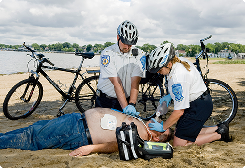 Bikers doing CPR